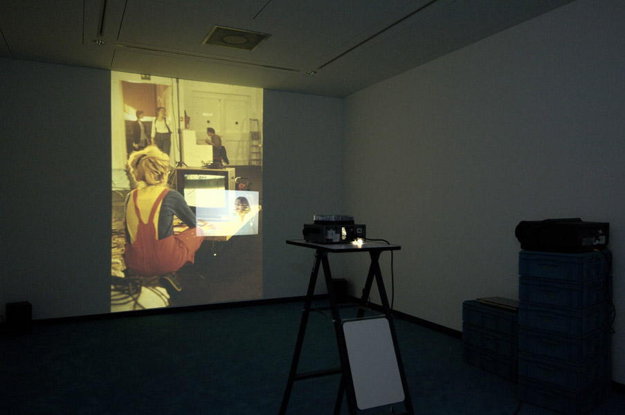 Installation view with artwork by Pipilotti Rist