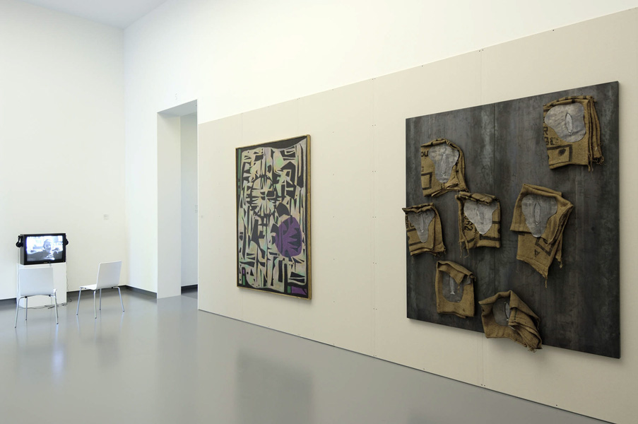 Installation view with artwork by Gülsün Karamustafa & from the collection