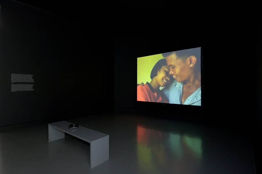 Installation view with artwork by Apichatpong Weerasethakul