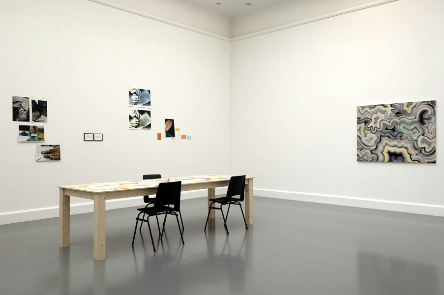 Installation view with artwork by Joseph Grigely & Bernard Frize