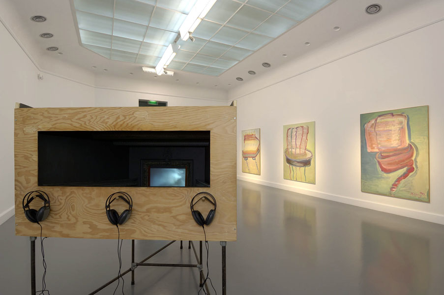 Installation view with artwork by Janet Cardiff and George Bures Miller & Maria Lassnig