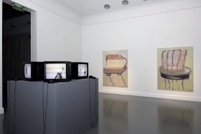 Installation view with artwork by Absalon & Maria Lassnig